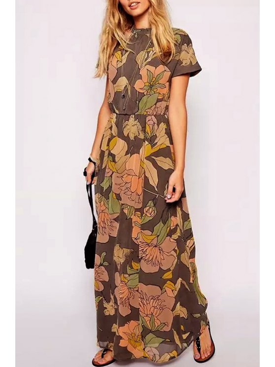 womens Floral Stand Neck Short Sleeves Maxi Dress - DEEP BROWN S