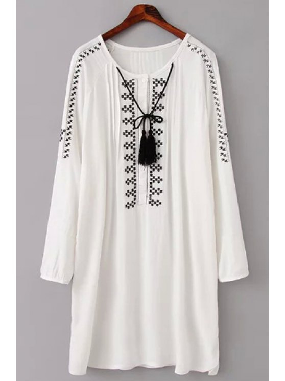 ladies Embroidery Long Sleeve Scoop Neck Dress - WHITE S