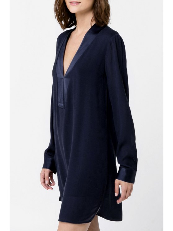 sale Pure Color V Neck Long Sleeves Dress - PURPLISH BLUE M