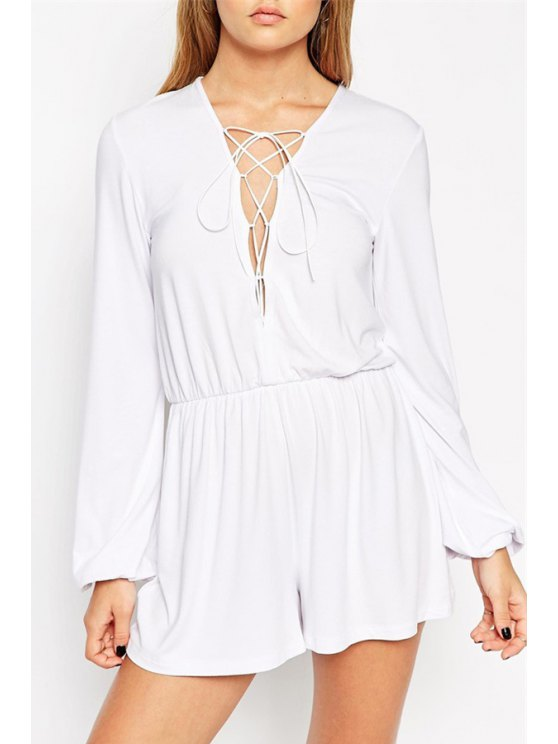 women Plunging Neck Lace-Up Romper - WHITE S