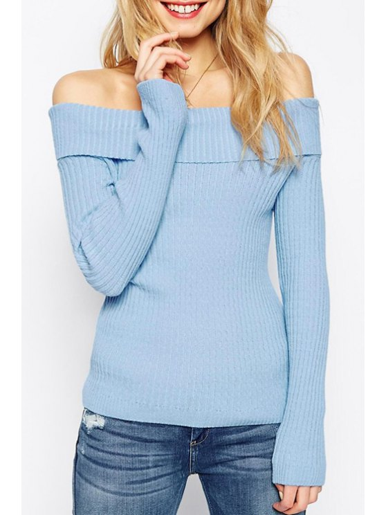 outfit Slash Neck Solid Color Long Sleeve Sweater - BLUE S