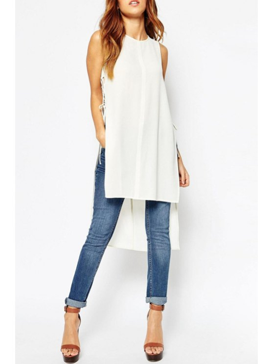 ladies Side Slit Lace-Up High Low Dress - WHITE S