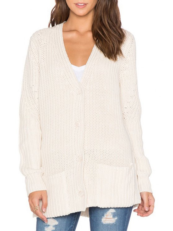 womens Single-Breasted Loose-Fitting White Cardigan - WHITE ONE SIZE(FIT SIZE XS TO M)
