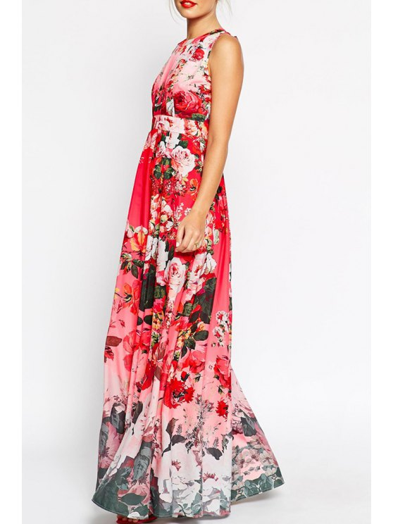outfit Flower Print Round Neck Sleeveless Maxi Dress - PINK S