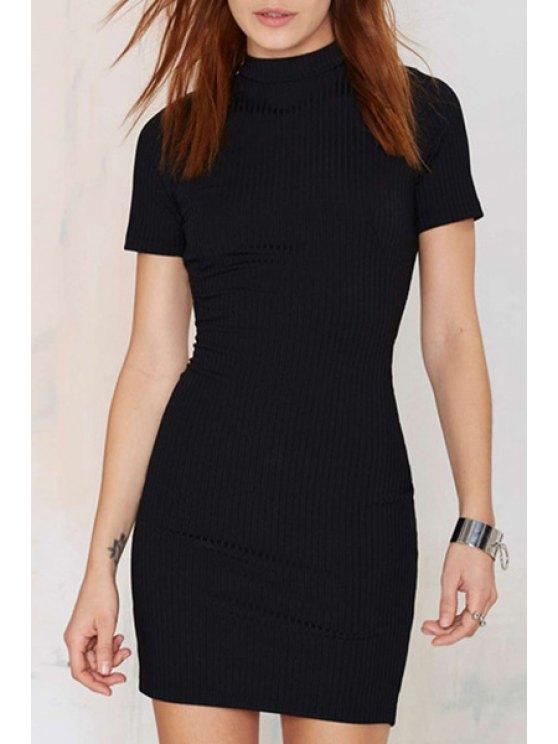 ladies Black Backless Short Sleeve Knitted Dress - BLACK S