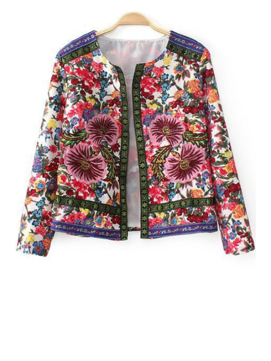 hot Floral Embroidery Long Sleeves Coat - AS THE PICTURE S