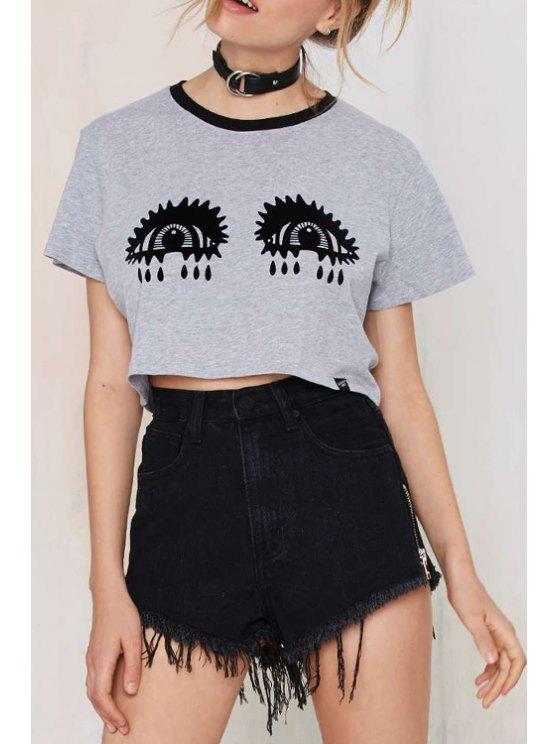 shop Black Eyes Print Short Sleeve Crop Top - GRAY S