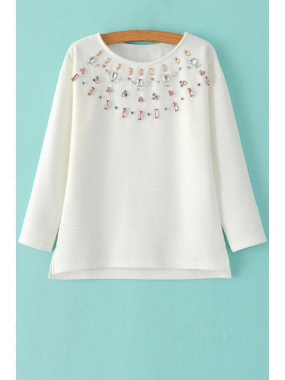 outfit Diamante Jewel Neck Long Sleeve Sweatshirt - WHITE M