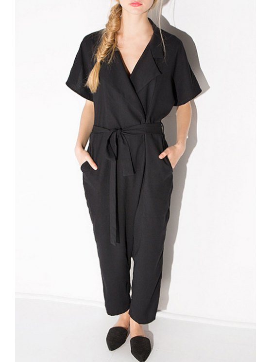 outfits Solid Color Tie-Up Short Sleeve Jumpsuit - BLACK 2XL
