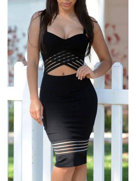 latest Midriff-Baring Bodycon Strap Dress - BLACK S