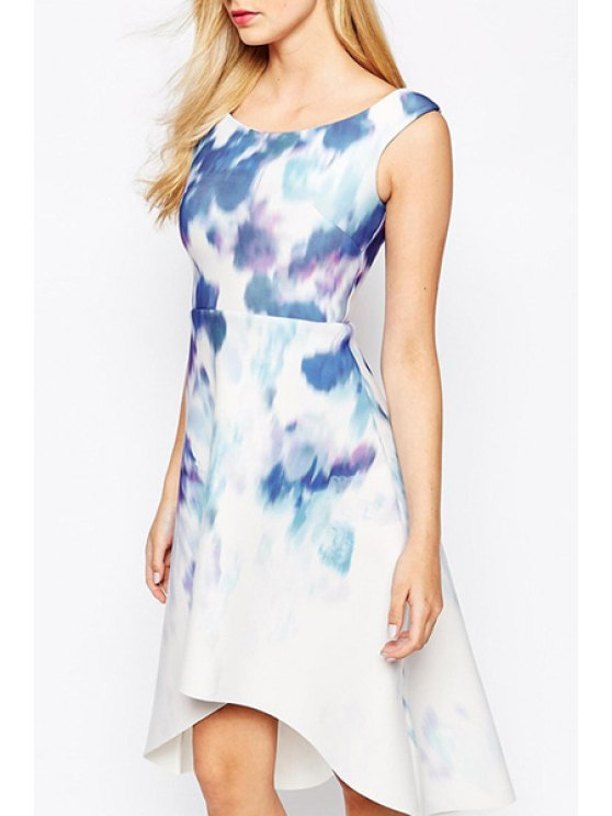 affordable Scoop Neck Tie Dye High Low Sleeveless Dress - WHITE S