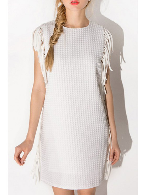 sale Fringe Splicing Solid Color Sleeveless Dress - WHITE S