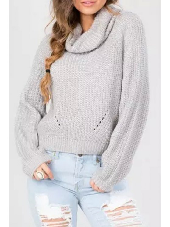 sale Turtle Collar Gray Long Sleeves Jumper - GRAY ONE SIZE(FIT SIZE XS TO M)