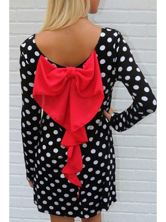 best Long Sleeve Polka Dot Bowknot Dress - WHITE AND BLACK S