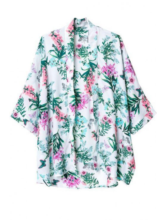 shops Flower Print Collarless 3/4 Sleeves Kimono - AS THE PICTURE S