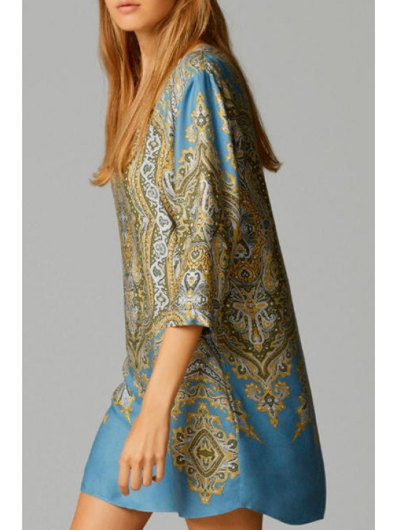outfits Ethnic Print V Neck 3/4 Sleeve Dress - COLORMIX S