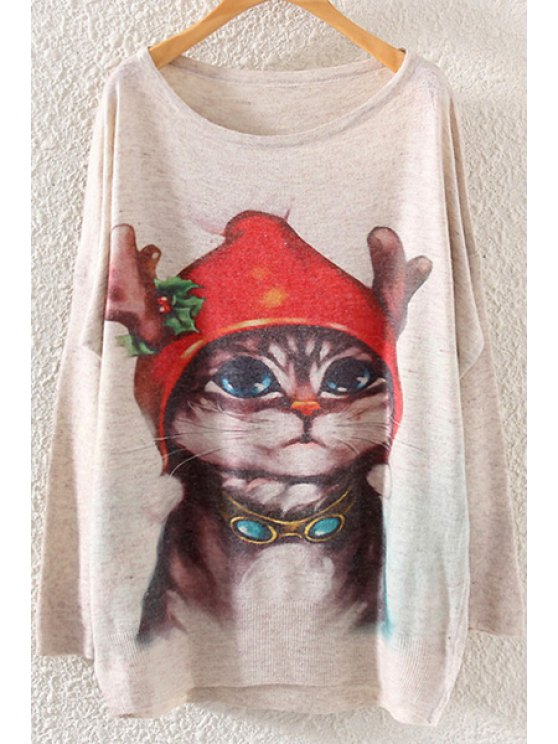 lady Batwing Sleeve Christmas Kitten Sweater - OFF-WHITE ONE SIZE(FIT SIZE XS TO M)
