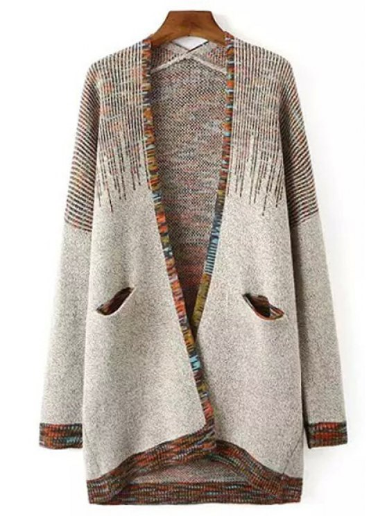 affordable Collarless Colorful Stripes Long Sleeve Cardigan - COLORMIX ONE SIZE(FIT SIZE XS TO M)