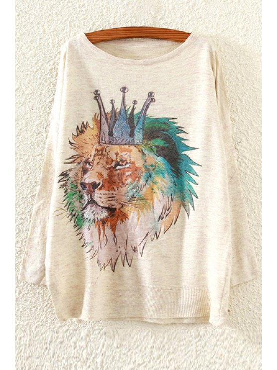sale Crowned Lion Pattern Sweater - OFF-WHITE ONE SIZE(FIT SIZE XS TO M)