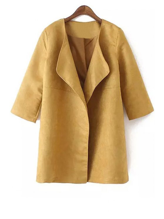 latest Turn-Down Collar Faux Suede 3/4 Sleeve Trench Coat - KHAKI S