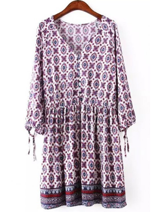 unique V Neck Printed Tie-Up 3/4 Sleeve Dress - AS THE PICTURE L