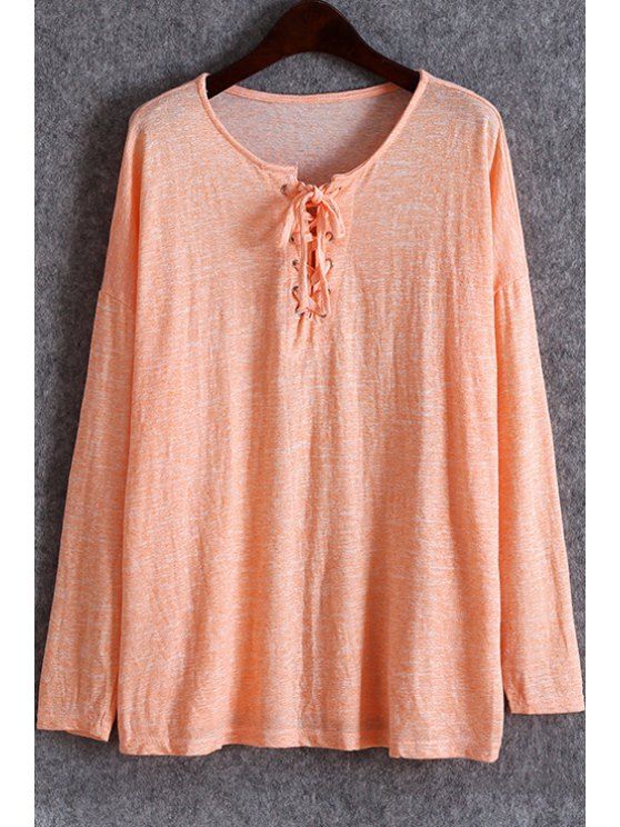 women's Solid Color Lace-Up T-Shirt - PINK ONE SIZE(FIT SIZE XS TO M)