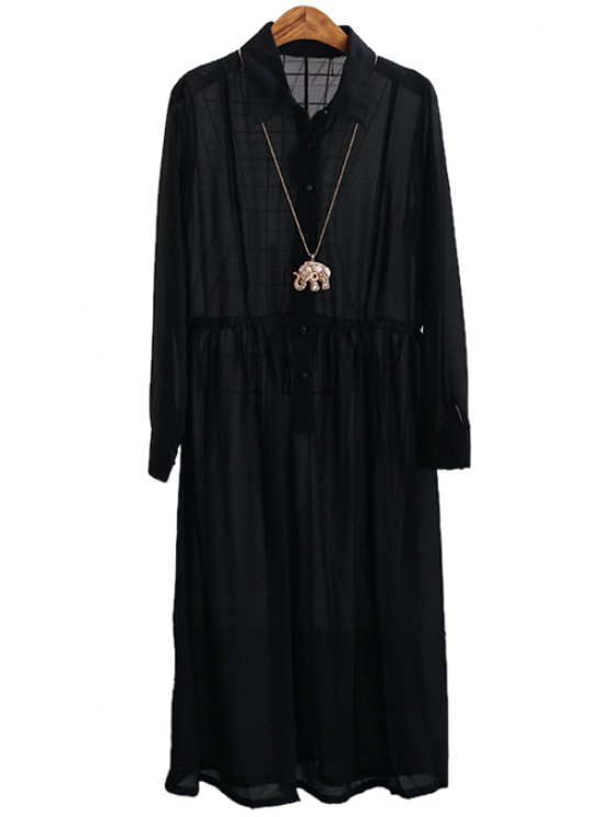 outfits Long Sleeve Single-Breasted Chiffon Dress - BLACK ONE SIZE(FIT SIZE XS TO M)