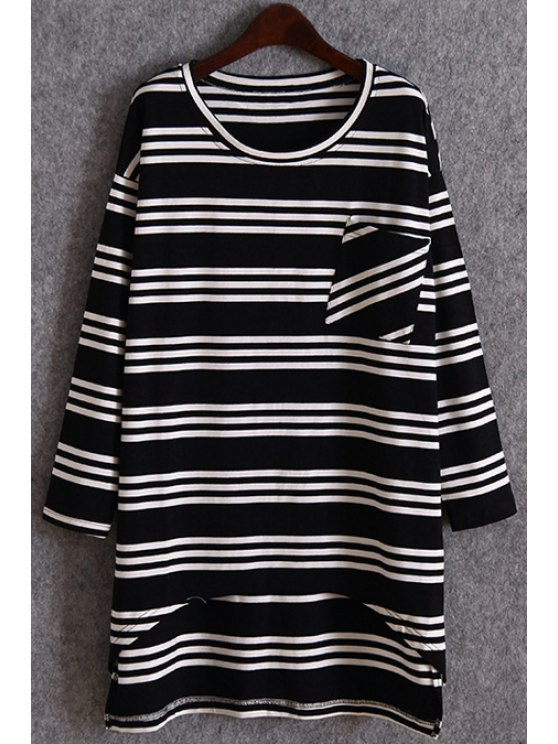 women's Striped Pocket Irregular Hem T-Shirt - BLACK ONE SIZE(FIT SIZE XS TO M)