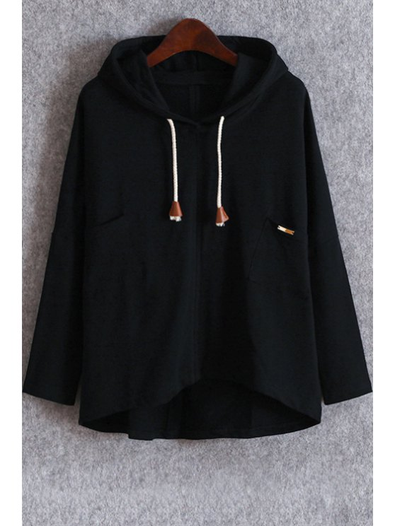 Pockets Slouchy Pullover Hoodie - BLACK ONE SIZE(FIT SIZE XS TO M) Mobile