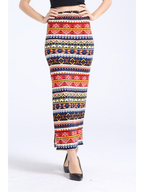 ladies Side Slit Ethnic Print Long Skirt - COLORMIX ONE SIZE(FIT SIZE XS TO M)