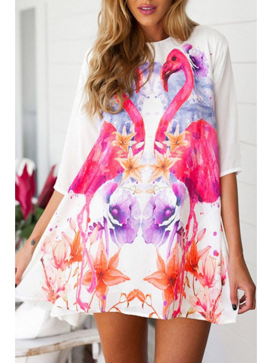 affordable Floral Print Half Sleeves Loosing-Fitting Dress - WHITE M