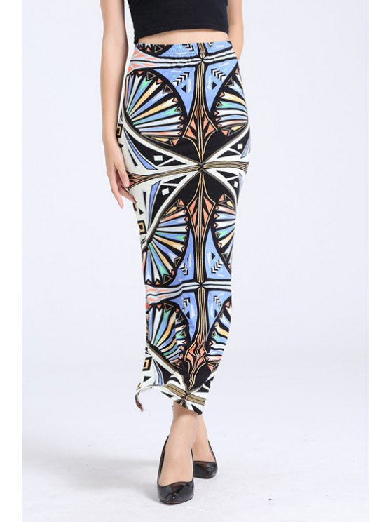new Abstract Print Side Slit Long Skirt - COLORMIX ONE SIZE(FIT SIZE XS TO M)