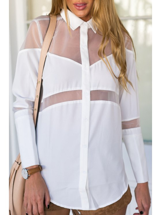 outfits See-Through Splicing Long Sleeve Shirt - WHITE S