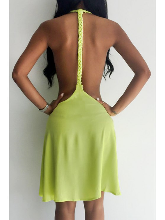 women Backless Solid Color Flare Dress - YELLOW S
