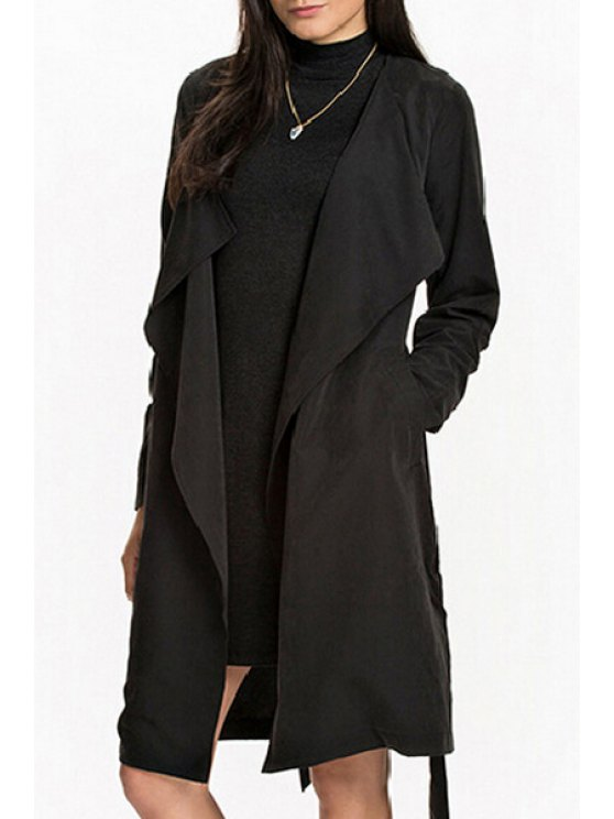 outfits Self Tie Turn Down Collar Long Sleeve Trench - BLACK S