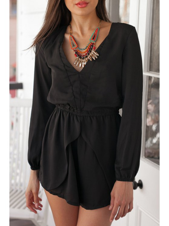 online Black Backless Long Sleeve Playsuit - BLACK S