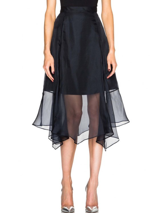 sale Solid Color Chiffon Splicing Skirt - BLACK ONE SIZE(FIT SIZE XS TO M)