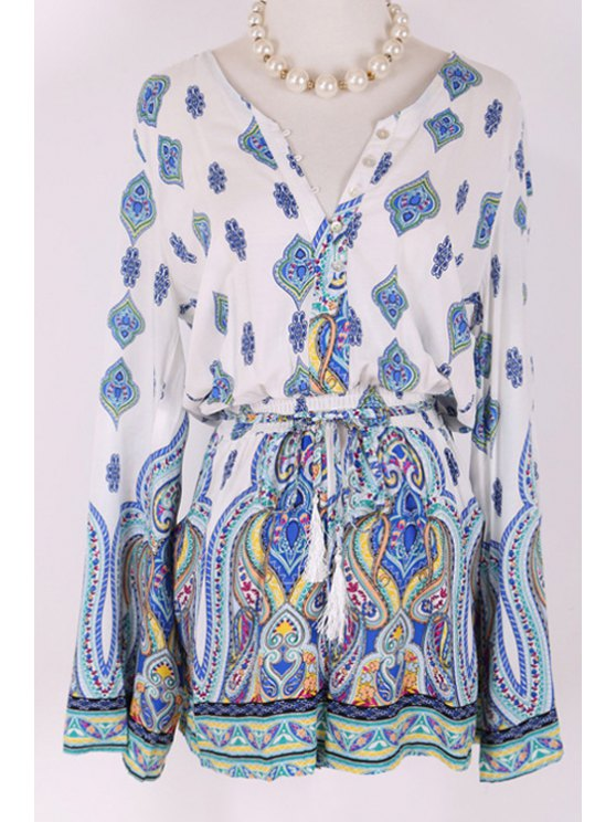 sale Long Sleeve Totem Print Drawstring Romper - WHITE ONE SIZE(FIT SIZE XS TO M)