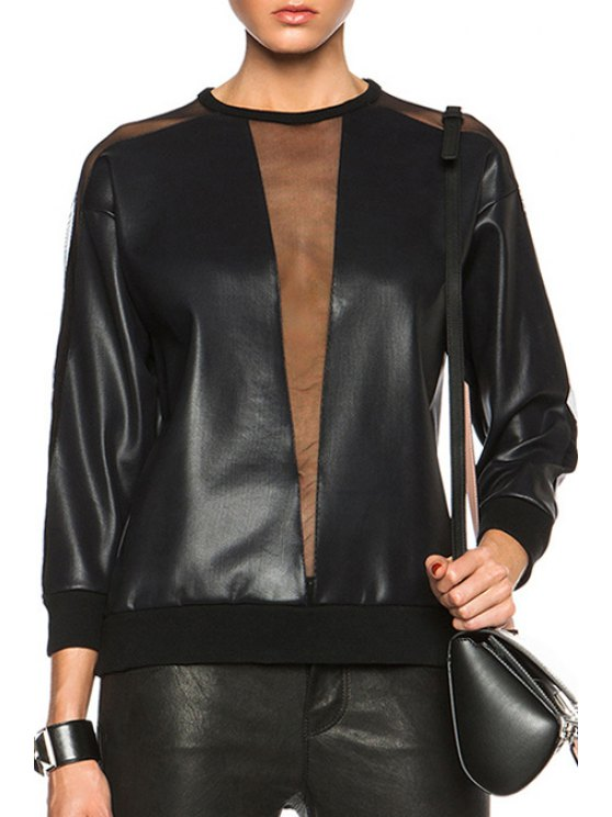 fashion See-Through PU Leather Splicing Long Sleeve Sweatshirt - BLACK ONE SIZE(FIT SIZE XS TO M)