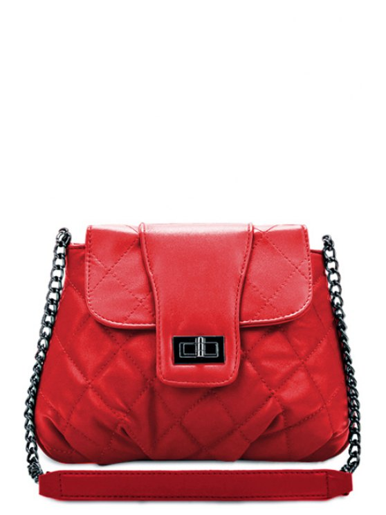 best Chain Checked PU Leather Crossbody Bag - RED