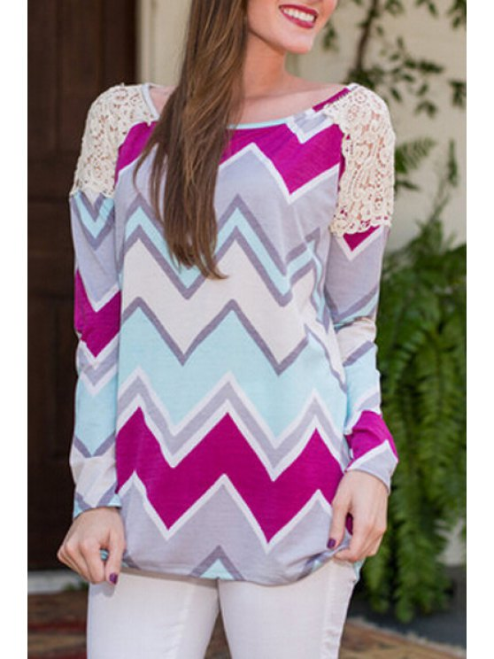 women Zig Zag Print Long Sleeve T-Shirt - AS THE PICTURE S