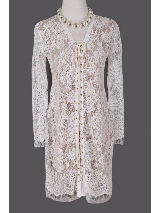 ladies Plunging Neck Crochet Flower Lace Dress - WHITE S