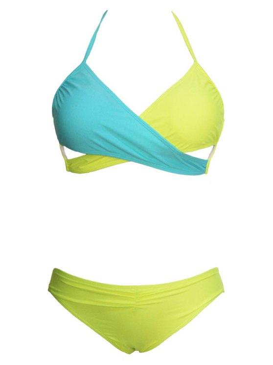 Ombre Sexy Halter Bikini Set - Amarillo S