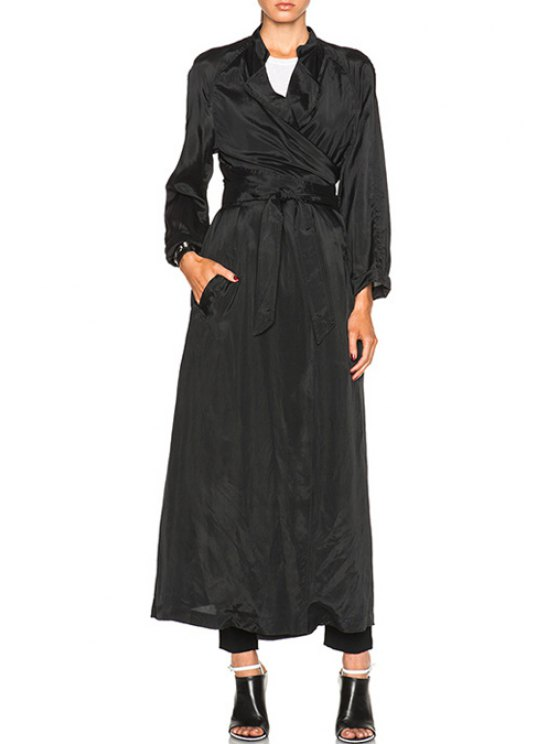 women Belt Black Long Sleeve Trench Coat - BLACK ONE SIZE(FIT SIZE XS TO M)