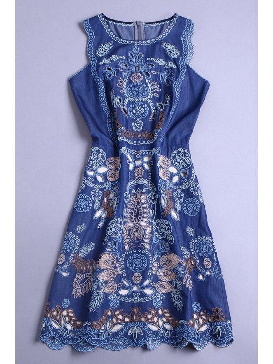 fancy Sleeveles Embroidered Openwork Dress - BLUE M