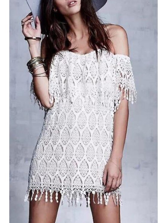 best Off-The-Shoulder Tassels Lace Dress - WHITE S