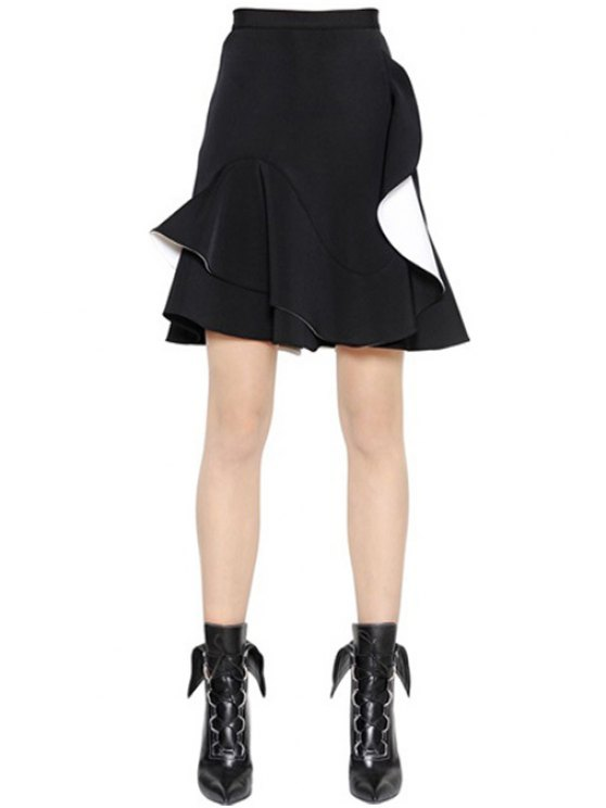 buy Asymmetrical Flounce Splicing Skirt - BLACK ONE SIZE(FIT SIZE XS TO M)