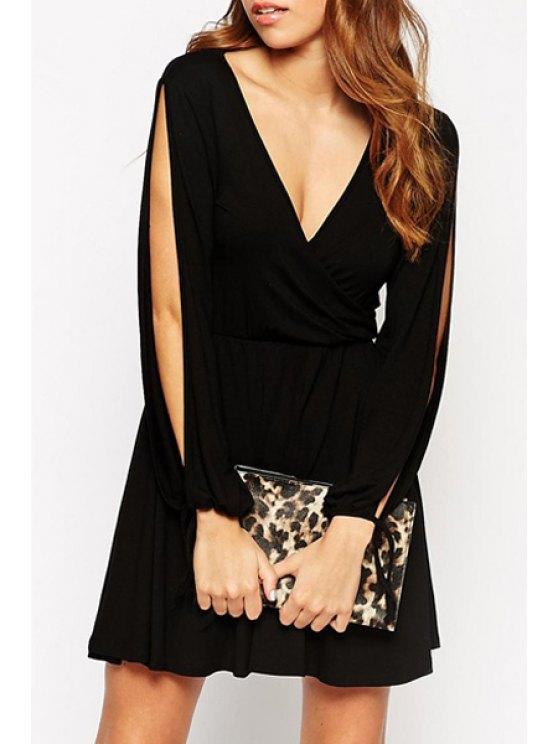 womens Long Slit Sleeve Plunging Neck A LineDress - BLACK S