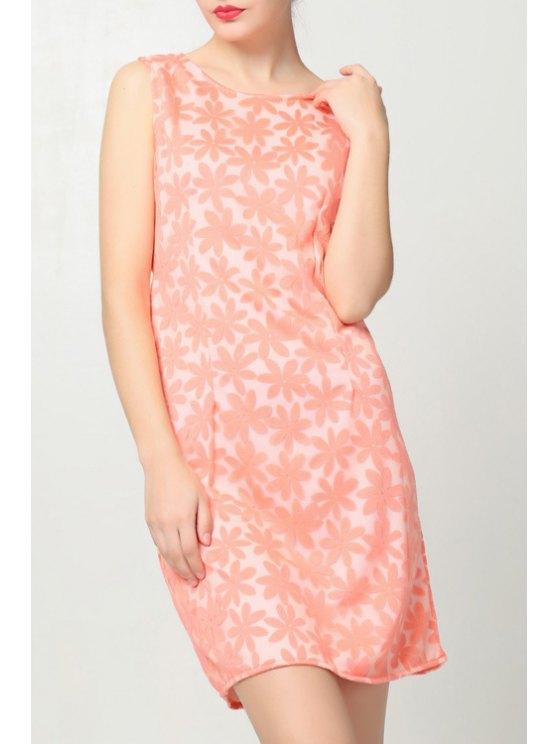 new Flower Pattern Jewel Neck Sundress - PINK S