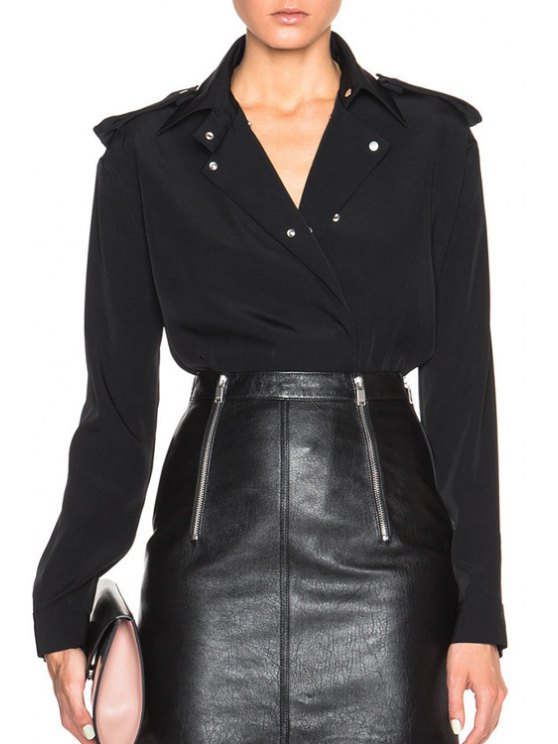 fancy Turn-Down Collar Shoulder Board Long Sleeve Shirt - BLACK ONE SIZE(FIT SIZE XS TO M)